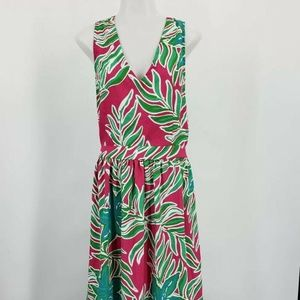 Southern Frock Maxi Dress Green Floral Palm Leaf